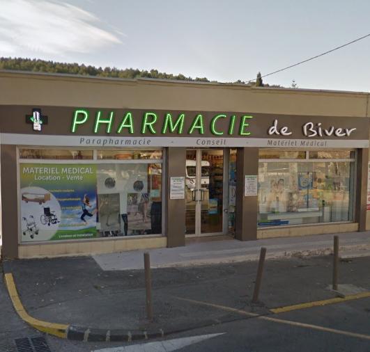 Photo de la devanture de pharmacie de biver